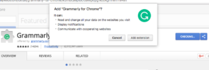 Grammarly for Chrome popup