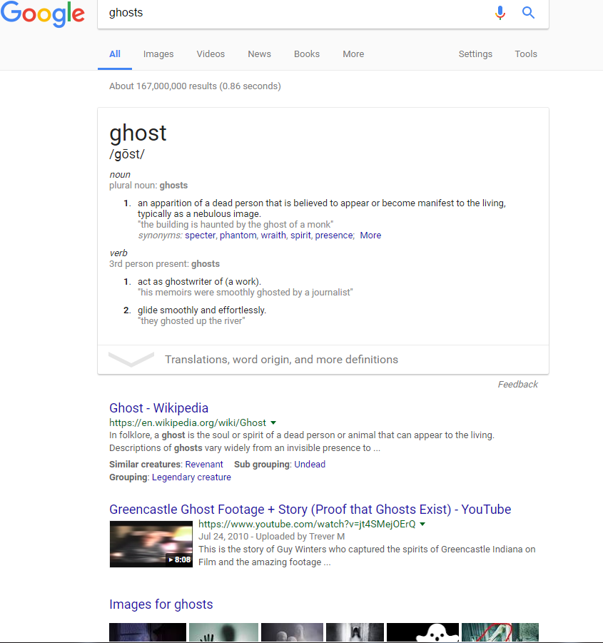 Ghosts Google Search Above Fold