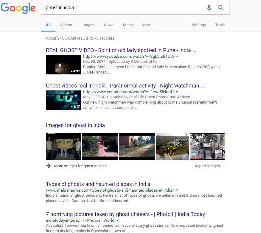 Google Search Ghosts in India