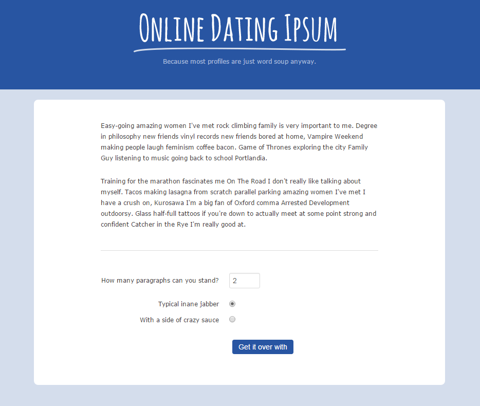 Online Dating Ipsum Results