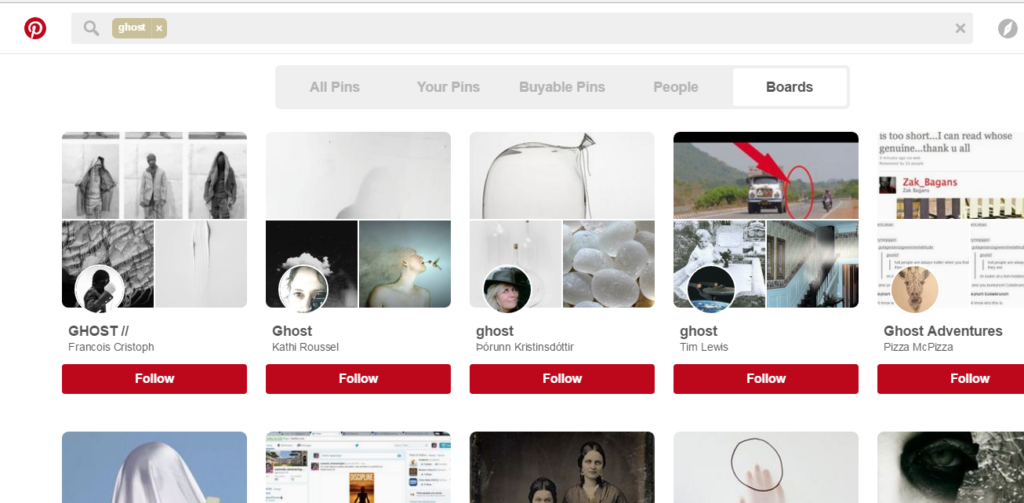 Pinterest Ghost Board Search