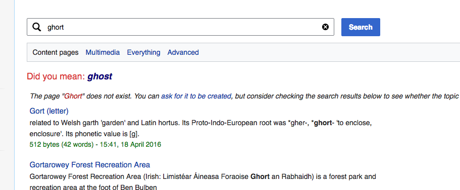 Wikipedia Search Ghost Misspell
