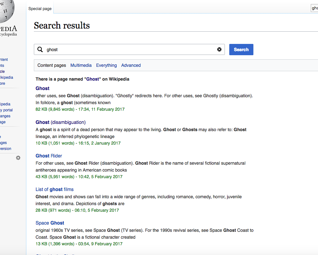 Wikipedia Ghost Search Results