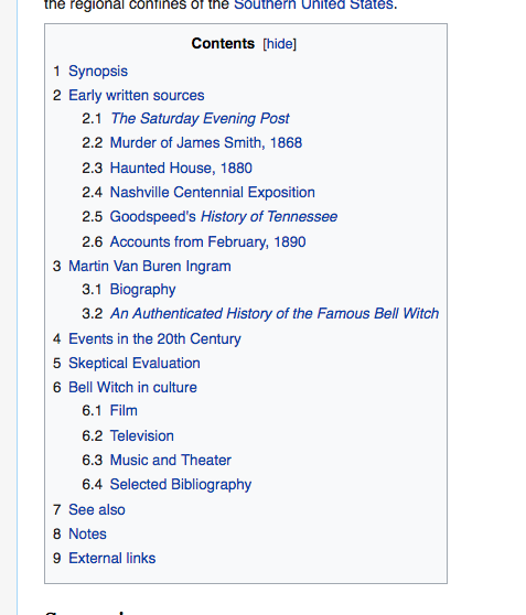Wikipedia Bell Witch - TOC