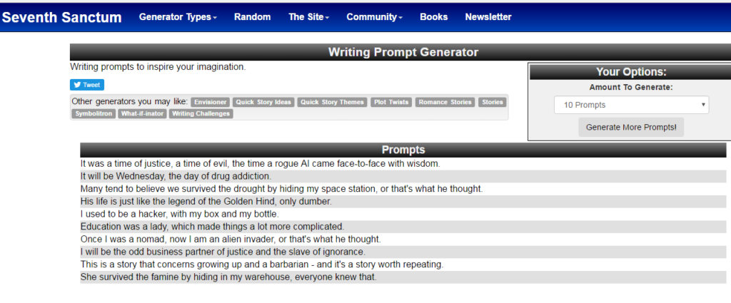 Seventh Sanctum Writing Prompt Generator
