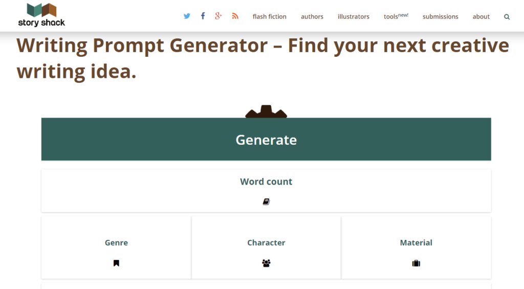 Story Shack Writing Prompt Generator