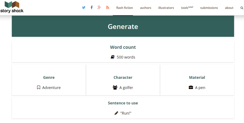 Story Shack Writing Prompt Generator Result