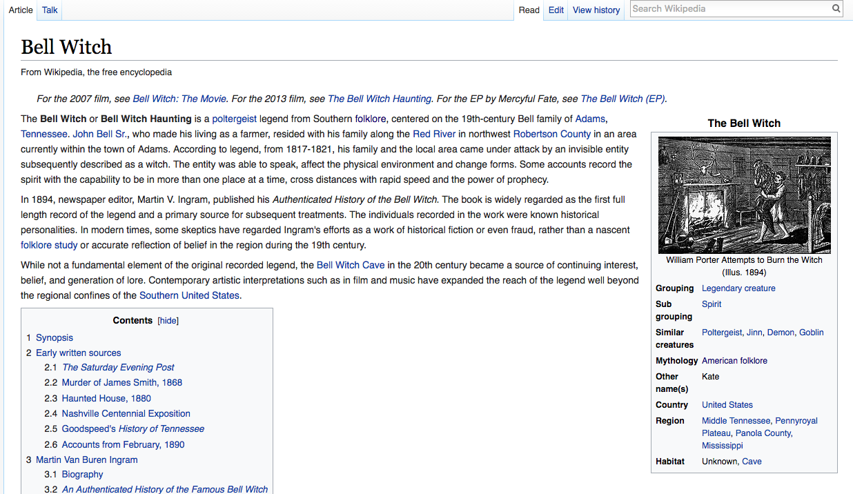 Wikipedia Bell Witch