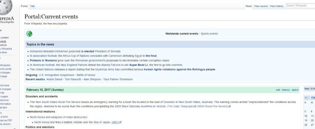 Wikipedia Current Events - Top